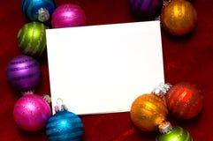 Nota-Tarjeta de la bola de la Navidad Foto de archivo libre de regalías