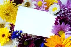 Nota-tarjeta en blanco con las flores imágenes de archivo libres de regalías
