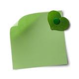 Nota van het groene en eco de vriendschappelijke memorandum Stock Foto