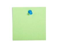 Nota verde del recordatorio con el contacto azul foto de archivo libre de regalías
