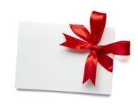 Nota vermelha do cartão da fita Fotos de Stock Royalty Free
