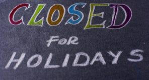 Nota voor gesloten op vakantie Stock Fotografie