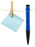 Nota y bolígrafo en blanco Fotografía de archivo