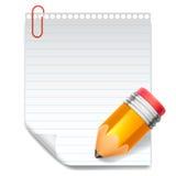 Nota y lápiz Imagen de archivo libre de regalías