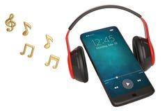 Nota y Smart-teléfono de la música con concepto del audio del auricular illus 3d ilustración del vector