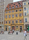The notable landmark. WROCLAW, POLAND - JULY 5, 2010: The Renaissance House of the Seven Electors located on the west side of the Market Square, decorated with Royalty Free Stock Image