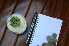 notaboek, pen, muntstukken en decoratie op houten achtergrond wordt geïsoleerd die stock afbeeldingen