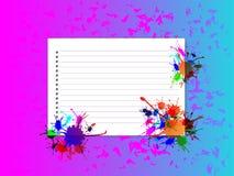 Notadocument met kleurenplons Stock Afbeelding