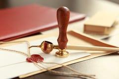 Notaris, procureur Wetsconcept met zegel in rechtszaal van het het contracthof van de wetsrechter van de het vertrouwenserfenis w royalty-vrije stock fotografie