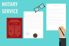 Notariusz usługowa egzekucja dokumenty pieczętuje i podpis na papierach Notariusz podpisuje dokument i stempluje royalty ilustracja