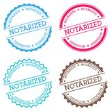 Notarized badge isolated on white background. Flat style round label with text. Circular emblem vector illustration Royalty Free Stock Photography