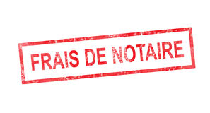 Notary fees in French translation in red rectangular stamp Stock Photography