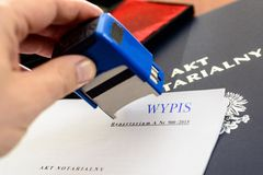 Notary gives stamp stock photography