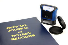 Notary Journal. Official notary journal and stamp Royalty Free Stock Image
