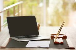 Notary workplace with laptop. Notary modern workplace with laptop stock images