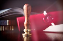Notary public, attorney. Law concept with stamp in courtroom Royalty Free Stock Photography