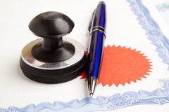 Notary public ink stamp. Stamp that is used by a notary public and signed document stock image