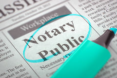 Notary Public Wanted. 3D Render. Notary Public - Classified Advertisement of Hiring in Newspaper, Circled with a Azure Marker. Blurred Image with Selective Stock Image