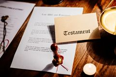 Notary public wax stamp and testament Royalty Free Stock Photography