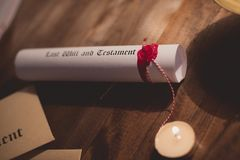 Notary public wax stamp and testament Royalty Free Stock Photo