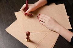 Notary`s public pen and stamp on testament and last will. Notary public stock photography