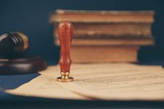 Notary`s public pen and stamp on testament and last will. Notary public. Tools stock images
