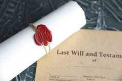 Notary`s public pen and stamp on testament and last will. Notary public stock images