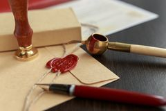Notary`s public pen and stamp on testament and last will. Notary public tools Stock Photos