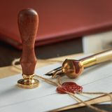 Notary`s public pen and stamp on testament and last will. Notary public tools royalty free stock image