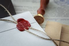 Notary`s public pen and stamp on testament and last will. Notary public tools stock image