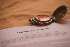 Notary`s tool testament and last will. stock images