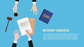 Notary service concept banner with legal team discuss and signing paper document royalty free illustration