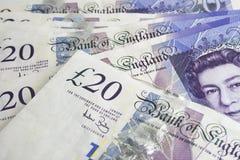 Notas £20 de Inglaterra Foto de Stock Royalty Free