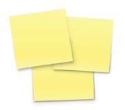 Notas amarelas Fotografia de Stock Royalty Free