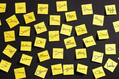 Notas amarelas Foto de Stock Royalty Free