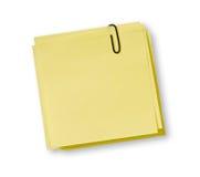 Notas amarelas fotografia de stock