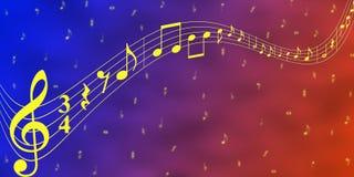 Notas amarillas de la música en fondo azul y rojo de la bandera ilustración del vector