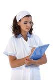 Notas atrativas da escrita da enfermeira foto de stock