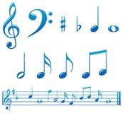 Notas azuis lustrosas da música ilustração stock