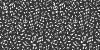 Notas blancas de la música sobre modelo negro, inconsútil ilustración del vector