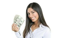 Notas bonitas do dólar da terra arrendada da mulher de negócios Fotografia de Stock