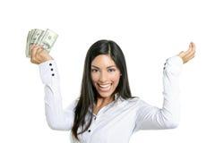 Notas bonitas do dólar da terra arrendada da mulher de negócios imagens de stock
