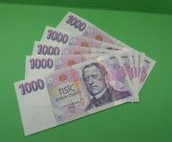 Notas checas da coroa, República Checa Fotografia de Stock Royalty Free