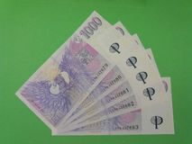 Notas checas da coroa, República Checa Imagens de Stock
