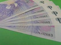 Notas checas da coroa, República Checa Imagem de Stock