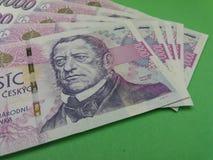 Notas checas da coroa, República Checa Fotografia de Stock