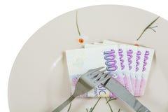 Notas checas del papel de la corona del dinero imagen de archivo libre de regalías