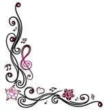 Notas, clave y flores de la música ilustración del vector