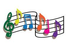 Notas coloreadas de la música Imágenes de archivo libres de regalías