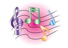 Notas coloreadas de la música Fotos de archivo